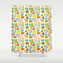Cute Bumblebee Ladybug Butterfly Garden Pattern Shower Curtain