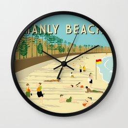 Manly Beach Retro Art Print Wall Clock
