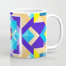 Geometric Tribal Mandala Inspired Modern Trendy Vibrant (Blue, Cobalt, Yellow, Orange, Purple) Coffee Mug