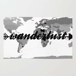 Wanderlust Black and White Map Rug