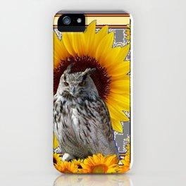 AWESOME GREY OWL SUNFLOWERS  GREY ART iPhone Case