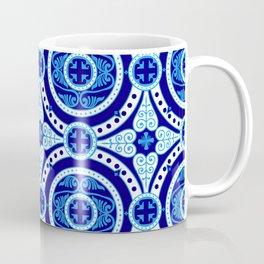 Blue and white monograms. Porcelain. Coffee Mug