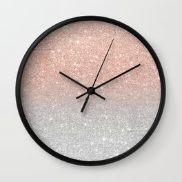 Modern trendy rose gold glitter ombre silver glitter Wall Clock