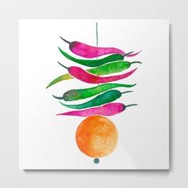 Lemon Chilli Charm - Magenta and orange palette Metal Print