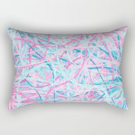Life is a Party - Pink & Light Blue Abstract Rectangular Pillow