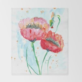 Poppy flowers no 4 Summer illustration watercolor painting Throw Blanket