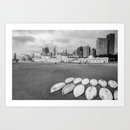 Chicago Skyline From the Beach - Black and White Art Print