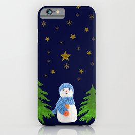 Sparkly gold stars, snowman and green tree iPhone Case