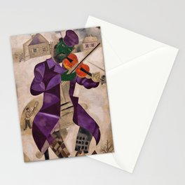The Green Violinist by Marc Chagall Stationery Cards