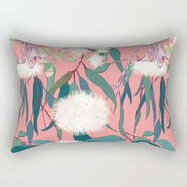 Australian Gumnut Eucalyptus Floral in White  + Dusty Peach Rectangular Pillow