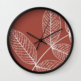Leaves, Earth Red Wall Clock