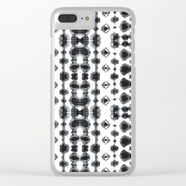 Shibori Ikat Habotoi BW Clear iPhone Case