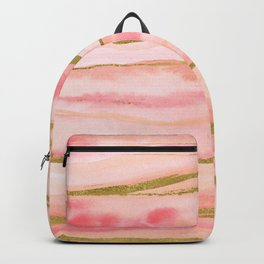 Pink watercolor marble with gold foil Backpack