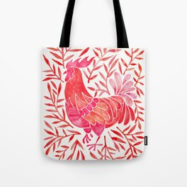 Le Coq – Watercolor Rooster with Red Leaves Tote Bag