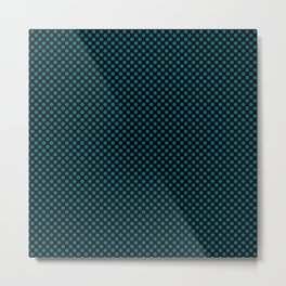 Black and Ocean Depths Polka Dots Metal Print