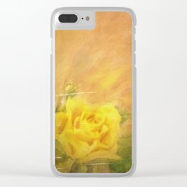 Vintage painting yellow rose Clear iPhone Case