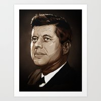 jfk Art Prints featuring JFK by Joey Zero
