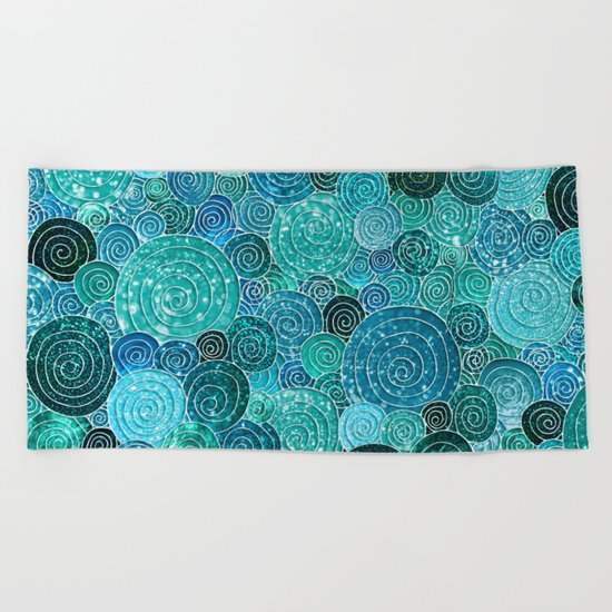 Abstract blue& green glamour glitter circles and dots for Girls and ladies Beach Towel