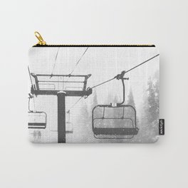 Chairlift Abyss // Black and White Chair Lift Ride to the Top Colorado Mountain Artwork Carry-All Pouch