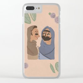 Old Emirati grand mother with young Emirati uae wearing burqaa traditional clothes Clear iPhone Case