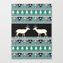 Christmas pattern with deer Canvas Print