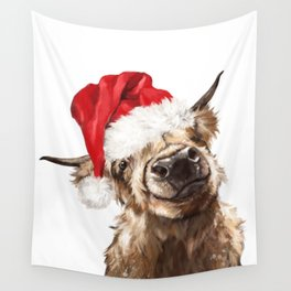 Christmas Highland Cow Wall Tapestry