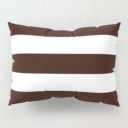 Root beer - solid color - white stripes pattern Pillow Sham