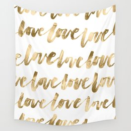 Gold Love Quote Pattern Typography Script Wall Tapestry