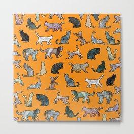 Cats shaped Marble - Black Orange Halloween Metal Print