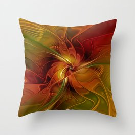 Warmth, Abstract Fractal Art Throw Pillow