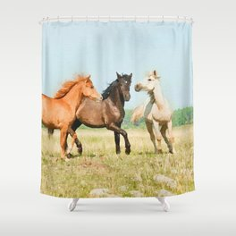 Three horses watercolor painting #3 Shower Curtain