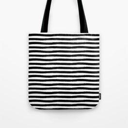 Black And White Hand Drawn Horizontal Stripes Tote Bag