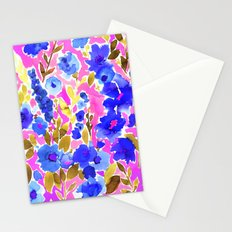 Isla Floral Pink Blue Stationery Cards
