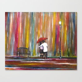 Love in the Rain romantic painting by Manjiri Kanvinde Canvas Print