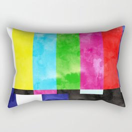 No Signal, Retro Vintage TV Television Graphic Design, Eclectic Watercolor Painting Concept Rectangular Pillow