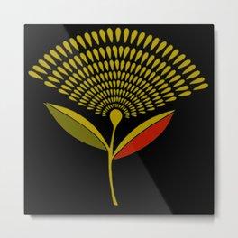 Mid Century Modern Dandelion Seed Head In Aspen Gold Metal Print
