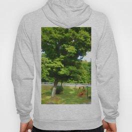 Wooden garden swing under maple tree Hoody