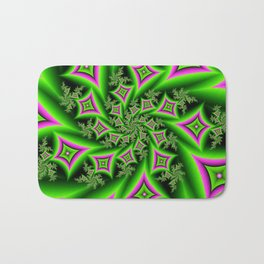 Green And Pink Shapes Fractal Bath Mat