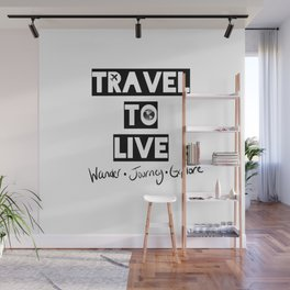 Travel to Live - B&W Logo Wall Mural