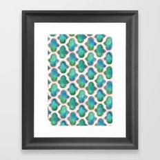 Blue/Green Moroccan Pattern Framed Art Print