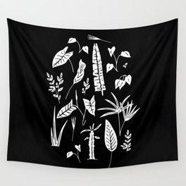 Botanic plants in black Wall Tapestry