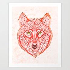 Red wolf Art Print