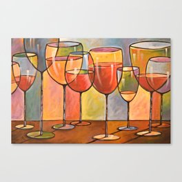 Whites and Reds ... abstract wine glass art, kitchen bar prints Canvas Print