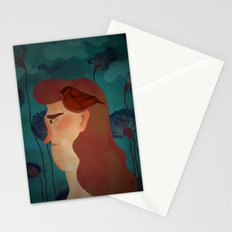lady with bird Stationery Cards