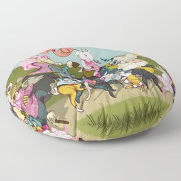 Cute animals parade, inspired by Orwell's Animal Farm but sweet Floor Pillow