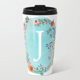 Personalized Monogram Initial Letter J Blue Watercolor Flower Wreath Artwork Travel Mug