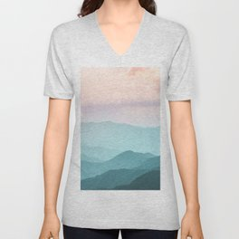 Smoky Mountain National Park Sunset Layers II - Nature Photography Unisex V-Neck