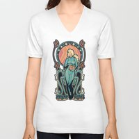 nouveau V-neck T-shirts featuring Samus Nouveau by Megan Lara