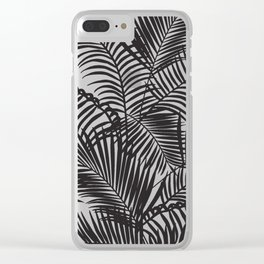 Modern black tropical palm trees pattern Clear iPhone Case