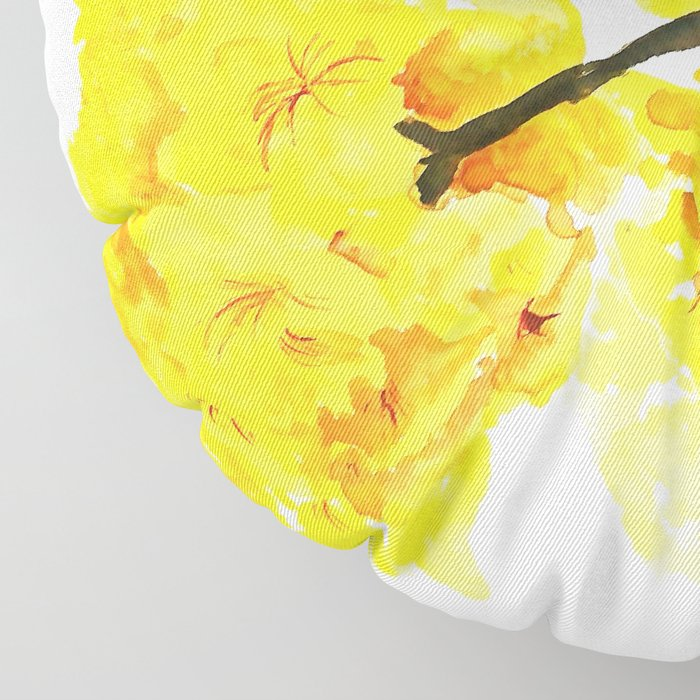 yellow trumpet trees watercolor yellow roble flowers yellow Tabebuia Floor Pillow